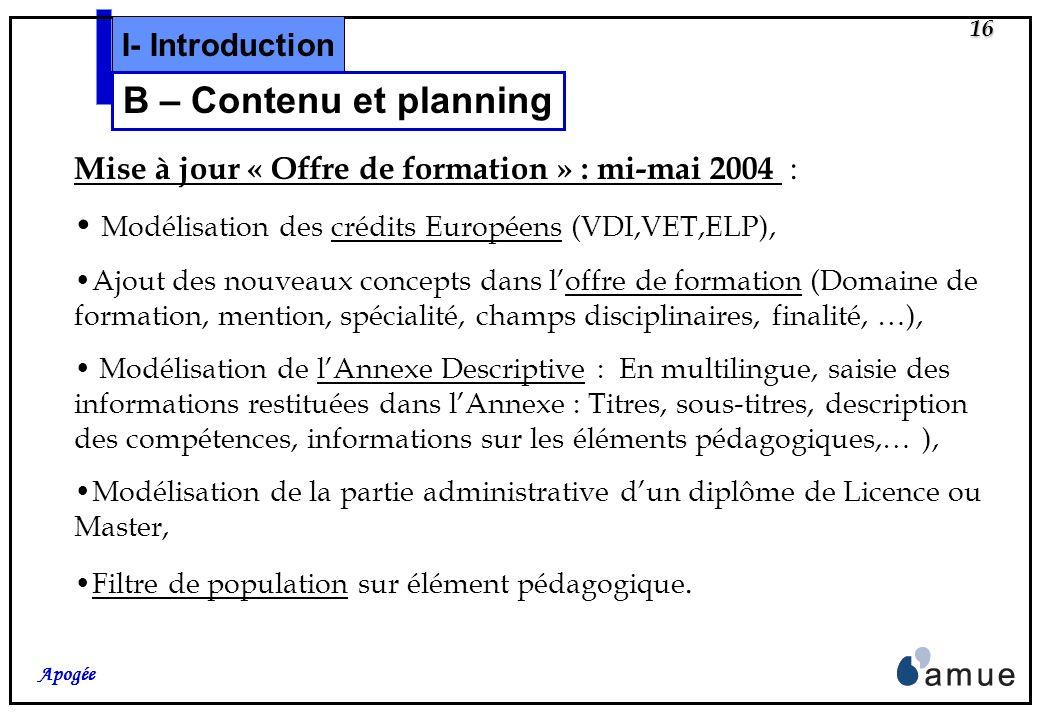 15 Apogée Facilitation dimplantation : Des actions daccompagnement : communication, notes, séminaire de présentation de la version, Déploiement dune m