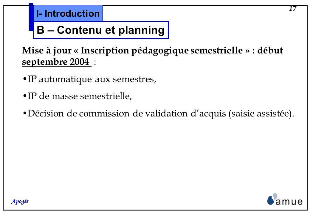 16 Apogée Mise à jour « Offre de formation » : mi-mai 2004 : Modélisation des crédits Européens (VDI,VET,ELP), Ajout des nouveaux concepts dans loffre