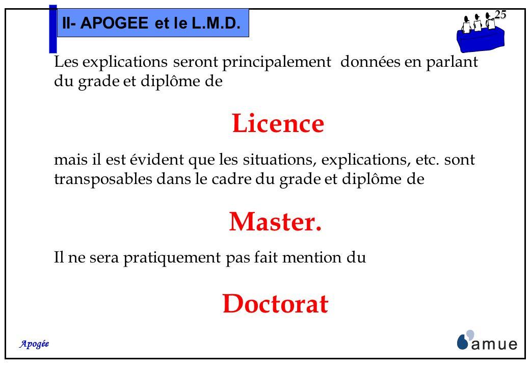 24 Apogée II- APOGEE et le L.M.D. Dernière remarque : Ce séminaire nétant pas réellement une « formation à loutil », les écrans liés aux différents ob