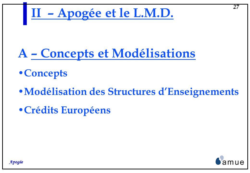 26 Apogée II- APOGEE et le L.M.D. A – Concepts et Modélisations
