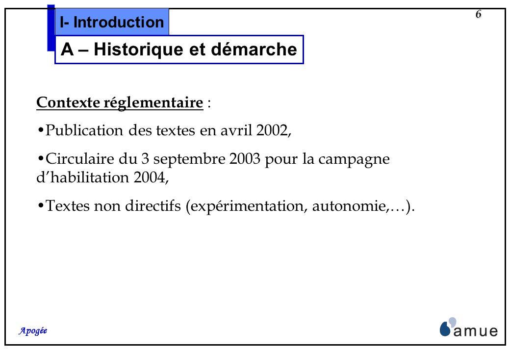 5 Apogée I- Introduction A – Historique et démarche