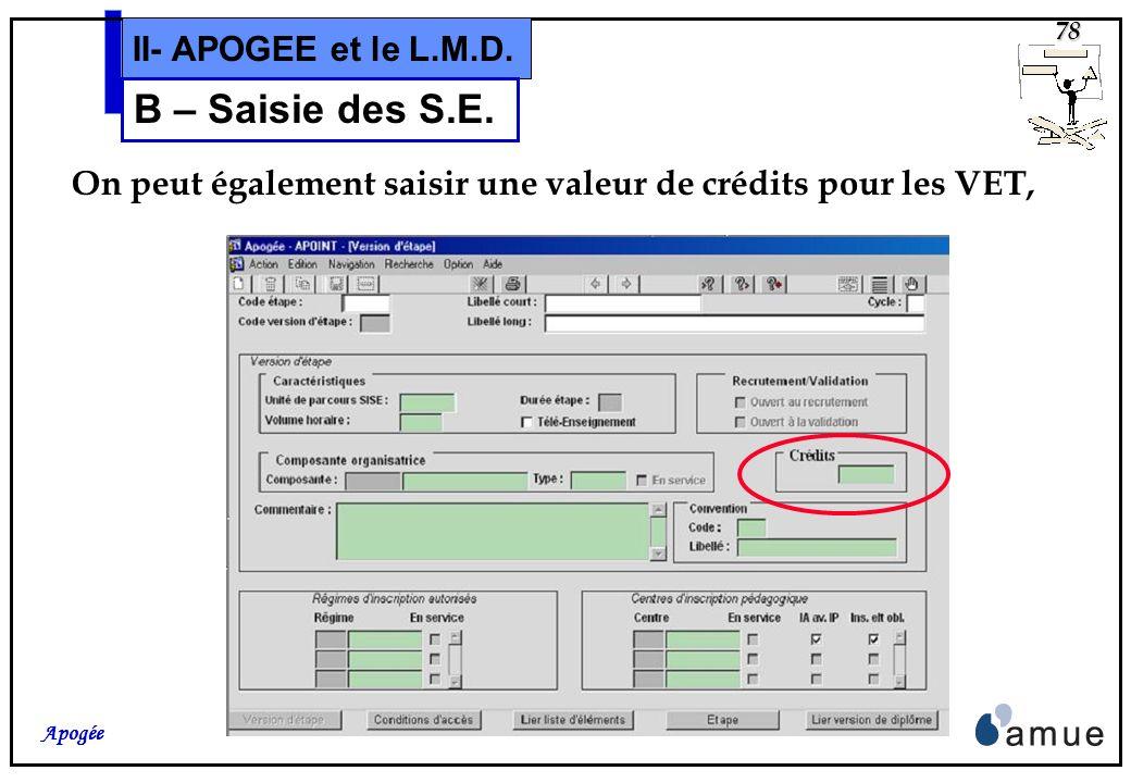 77 Apogée II- APOGEE et le L.M.D. B – Saisie des S.E. Dans lécran de lien entre VDI et VET, le champ « Année Étape/Diplôme » devra être rempli pour le
