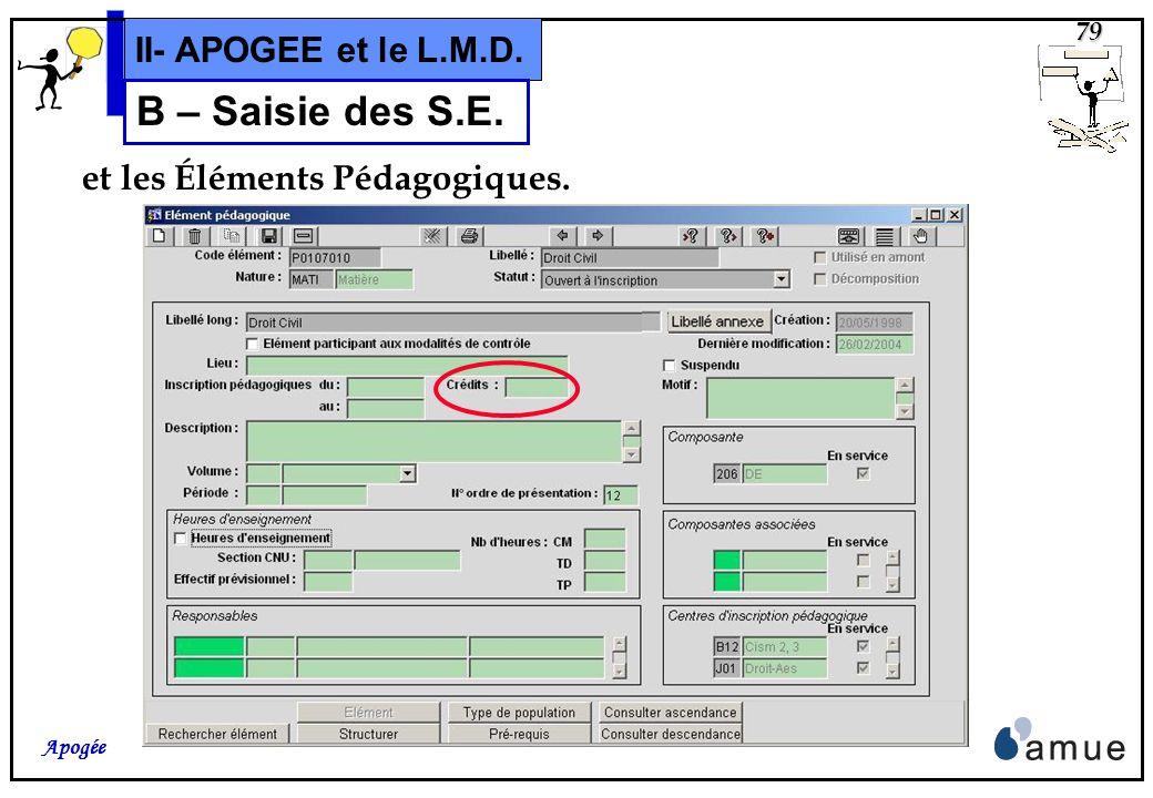 78 Apogée II- APOGEE et le L.M.D. B – Saisie des S.E. On peut également saisir une valeur de crédits pour les VET,