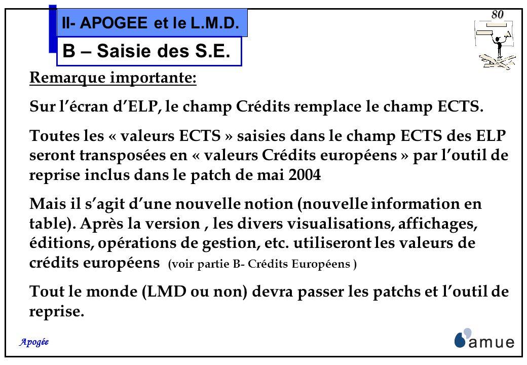 79 Apogée II- APOGEE et le L.M.D. B – Saisie des S.E. et les Éléments Pédagogiques.
