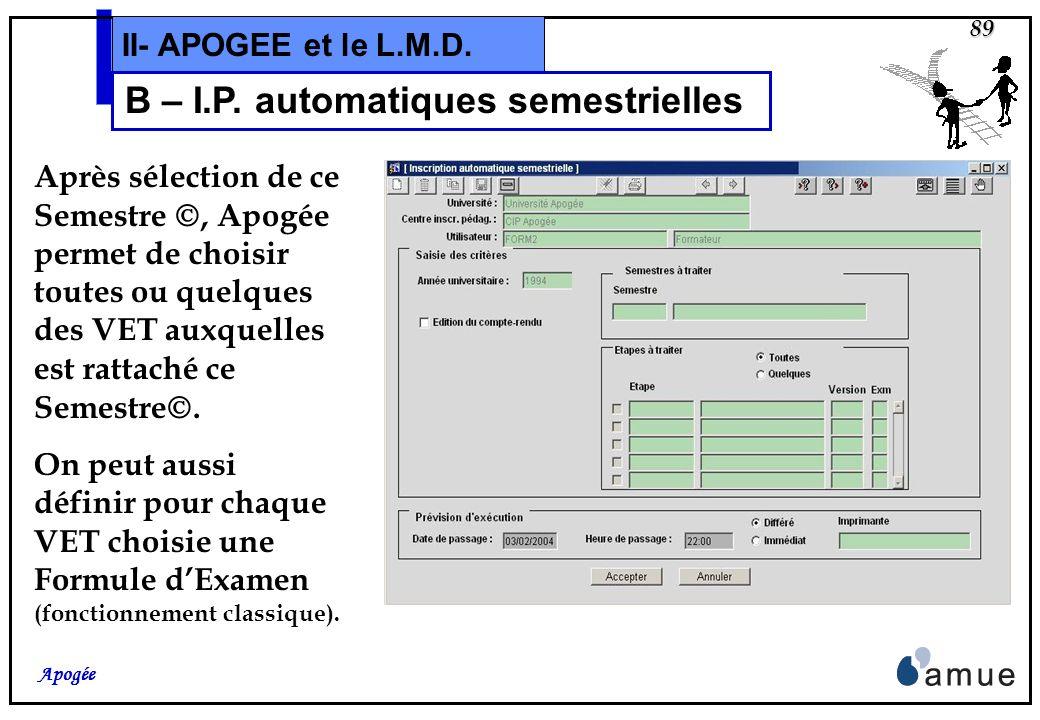 88 Apogée II- APOGEE et le L.M.D. B – I.P. automatiques semestrielles Si on lance les I.P. automatiques sur la VET, le traitement crée lInscription Pé
