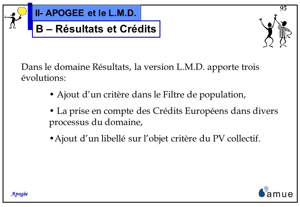 94 Apogée II- APOGEE et le L.M.D. B – Utilisation et Gestion Résultats et Crédits CrEur E U R O P E CrEur