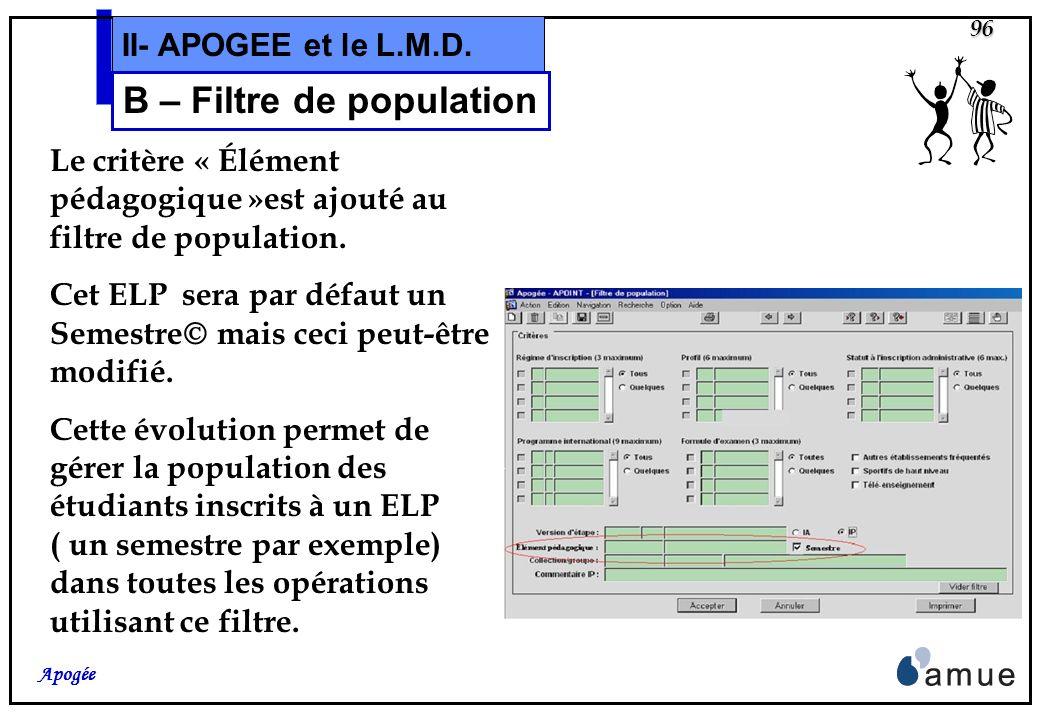 95 Apogée II- APOGEE et le L.M.D. B – Résultats et Crédits Dans le domaine Résultats, la version L.M.D. apporte trois évolutions: Ajout dun critère da