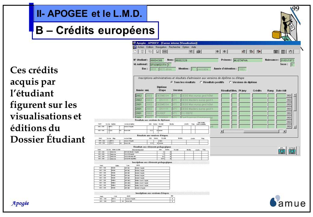 98 Apogée II- APOGEE et le L.M.D. B – Crédits européens Rappel: Les valeurs de Crédits, données dans la S.E. pour un objet, et pré-attribués lors des