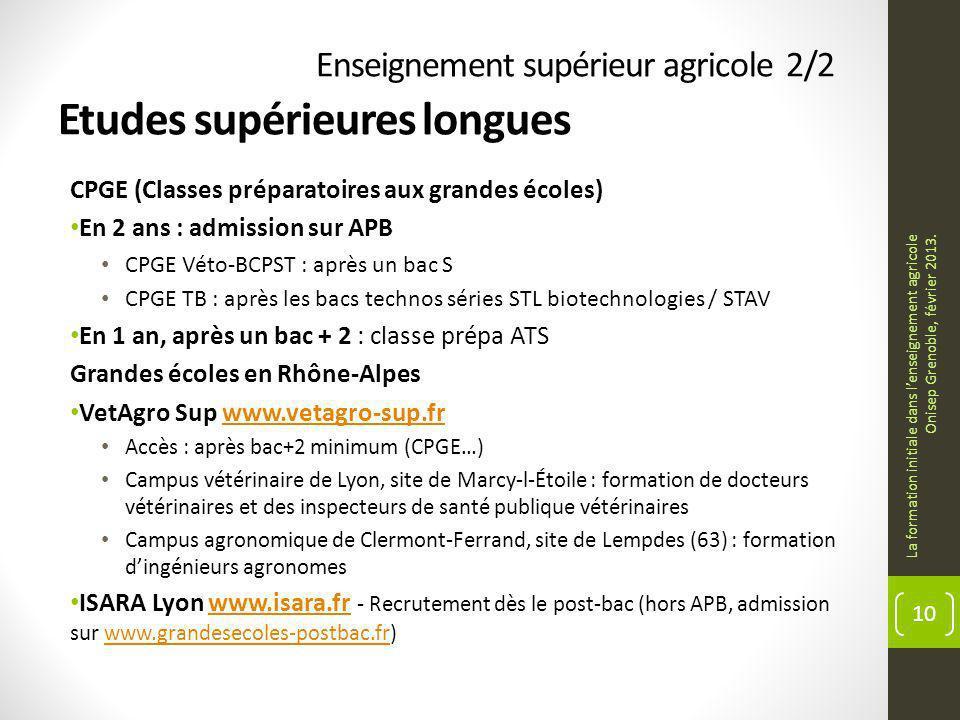 Enseignement supérieur agricole 2/2 Etudes supérieures longues CPGE (Classes préparatoires aux grandes écoles) En 2 ans : admission sur APB CPGE Véto-BCPST : après un bac S CPGE TB : après les bacs technos séries STL biotechnologies / STAV En 1 an, après un bac + 2 : classe prépa ATS Grandes écoles en Rhône-Alpes VetAgro Sup www.vetagro-sup.frwww.vetagro-sup.fr Accès : après bac+2 minimum (CPGE…) Campus vétérinaire de Lyon, site de Marcy-l-Étoile : formation de docteurs vétérinaires et des inspecteurs de santé publique vétérinaires Campus agronomique de Clermont-Ferrand, site de Lempdes (63) : formation dingénieurs agronomes ISARA Lyon www.isara.fr - Recrutement dès le post-bac (hors APB, admission sur www.grandesecoles-postbac.fr) www.isara.frwww.grandesecoles-postbac.fr La formation initiale dans lenseignement agricole Onisep Grenoble, février 2013.