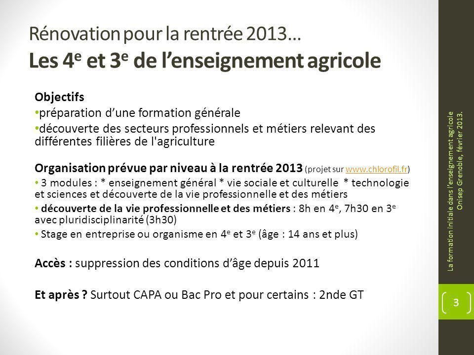 Rénovation pour la rentrée 2013… Les 4 e et 3 e de lenseignement agricole Objectifs préparation dune formation générale découverte des secteurs profes