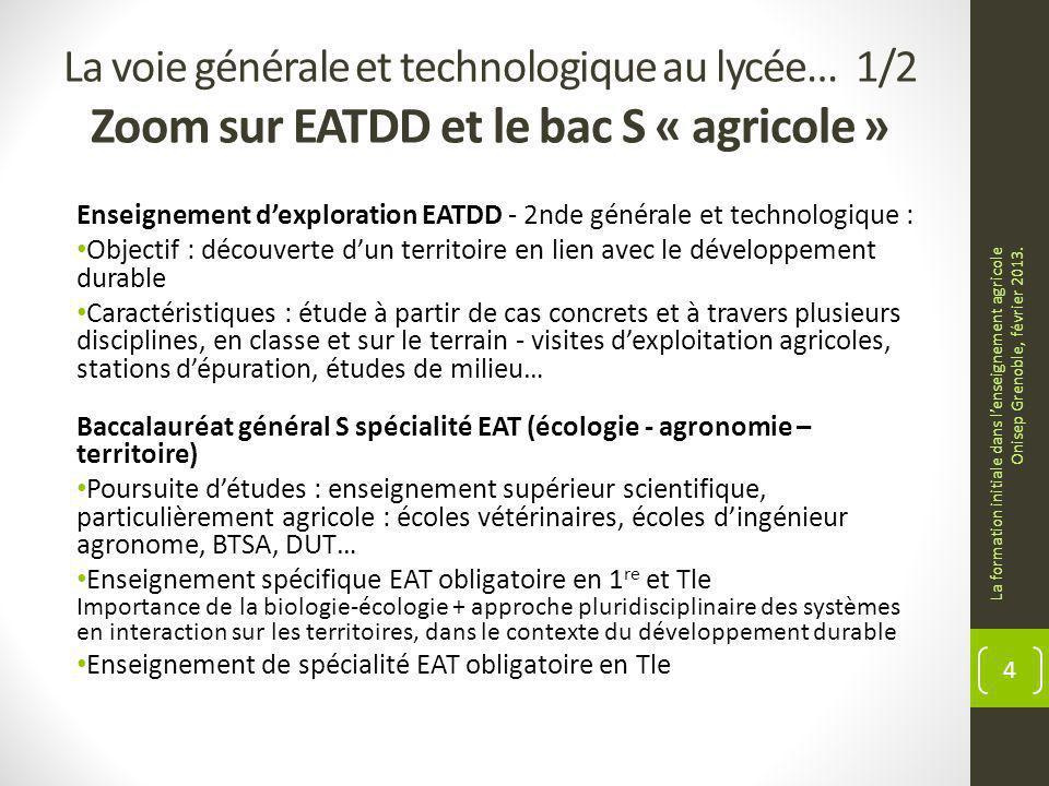 La voie générale et technologique au lycée… 1/2 Zoom sur EATDD et le bac S « agricole » Enseignement dexploration EATDD - 2nde générale et technologiq