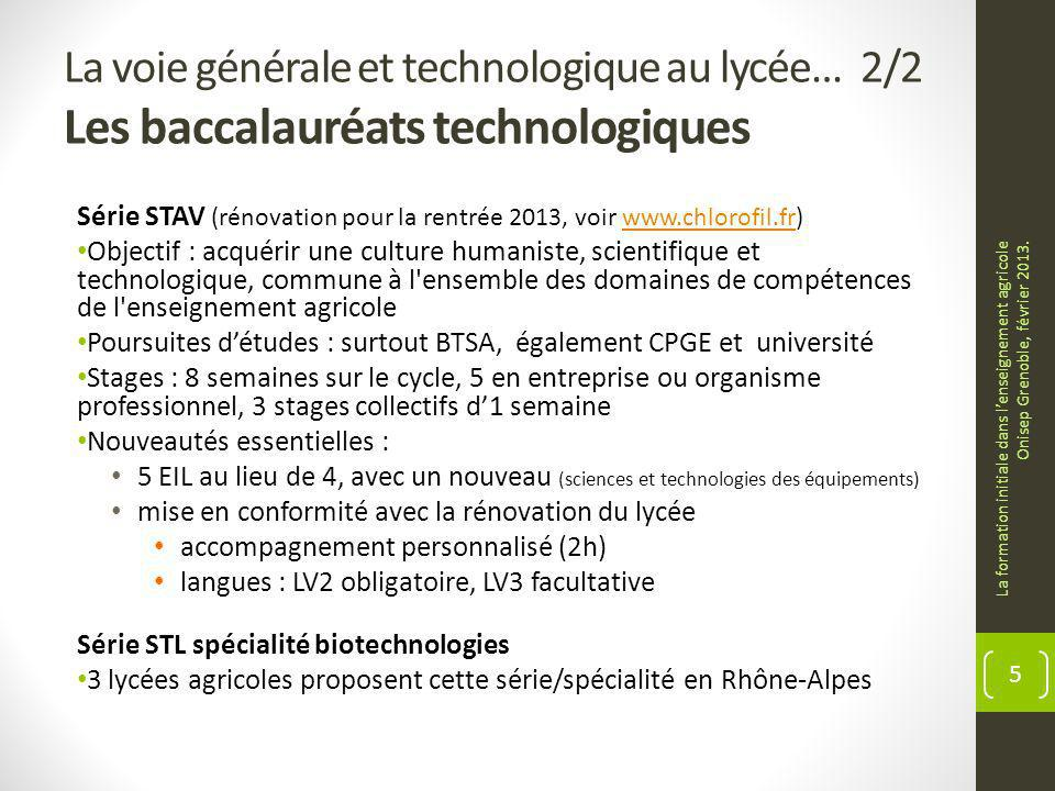 La voie générale et technologique au lycée… 2/2 Les baccalauréats technologiques Série STAV (rénovation pour la rentrée 2013, voir www.chlorofil.fr)ww