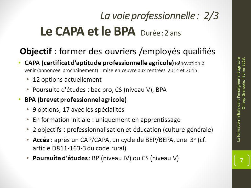 La voie professionnelle : 2/3 Le CAPA et le BPA Durée : 2 ans Objectif : former des ouvriers /employés qualifiés CAPA (certificat daptitude professionnelle agricole) Rénovation à venir (annoncée prochainement) : mise en œuvre aux rentrées 2014 et 2015 12 options actuellement Poursuite d études : bac pro, CS (niveau V), BPA BPA (brevet professionnel agricole) 9 options, 17 avec les spécialités En formation initiale : uniquement en apprentissage 2 objectifs : professionnalisation et éducation (culture générale) Accès : après un CAP/CAPA, un cycle de BEP/BEPA, une 3 e (cf.