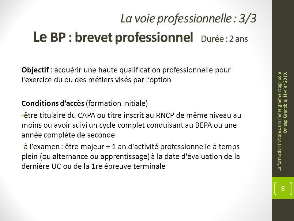 La voie professionnelle : 3/3 Le BP : brevet professionnel Durée : 2 ans Objectif : acquérir une haute qualification professionnelle pour l'exercice d