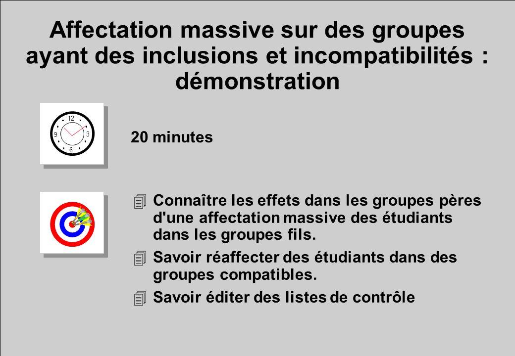 Affectation massive sur des groupes ayant des inclusions et incompatibilités : démonstration 12 6 3 9 20 minutes 4Connaître les effets dans les groupes pères d une affectation massive des étudiants dans les groupes fils.