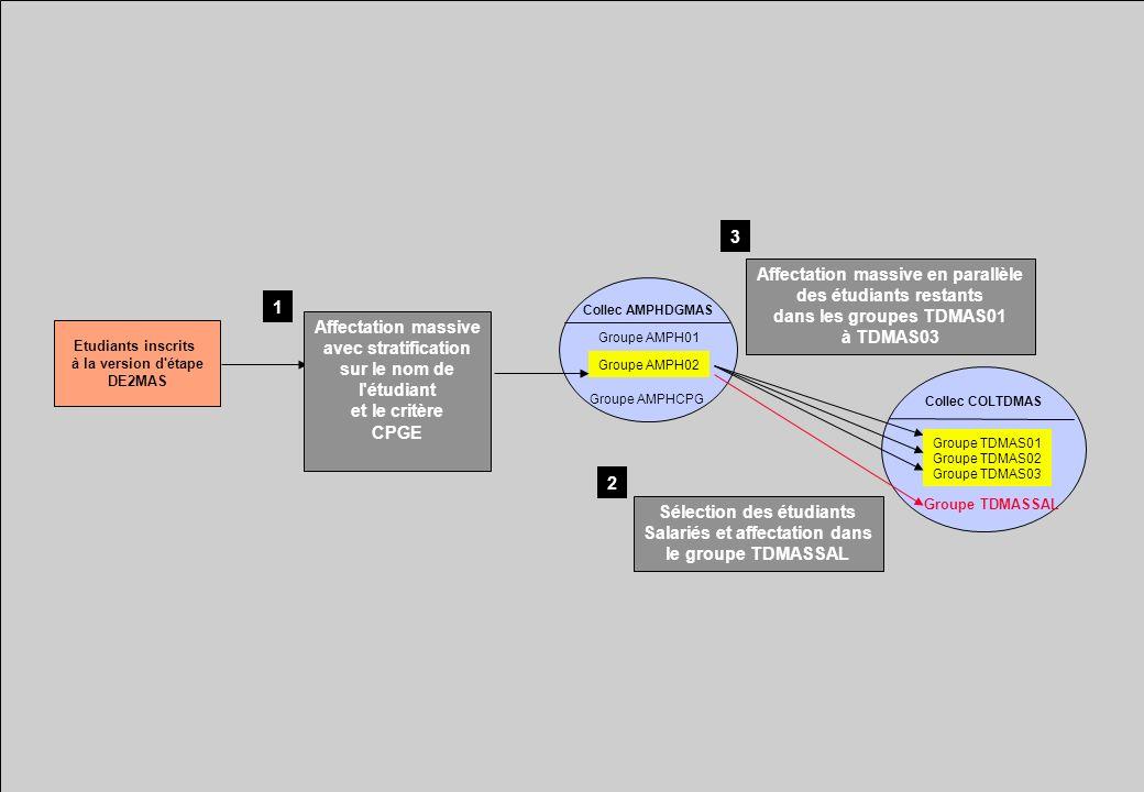 Collec COLTDMAS Collec AMPHDGMAS Groupe AMPH02 Groupe TDMASSAL Sélection des étudiants Salariés et affectation dans le groupe TDMASSAL Groupe AMPHCPG Groupe AMPH01 Etudiants inscrits à la version d étape DE2MAS Affectation massive avec stratification sur le nom de l étudiant et le critère CPGE 1 2 Groupe TDMAS01 Groupe TDMAS02 Groupe TDMAS03 Affectation massive en parallèle des étudiants restants dans les groupes TDMAS01 à TDMAS03 3