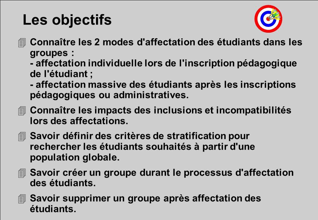 Les objectifs 4Connaître les 2 modes d affectation des étudiants dans les groupes : - affectation individuelle lors de l inscription pédagogique de l étudiant ; - affectation massive des étudiants après les inscriptions pédagogiques ou administratives.