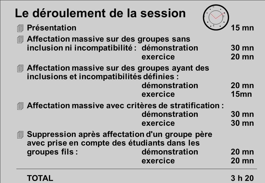 Affectation massive avec critères de stratification : exercice 12 6 3 9 30 minutes 4Utiliser les critères de stratification.