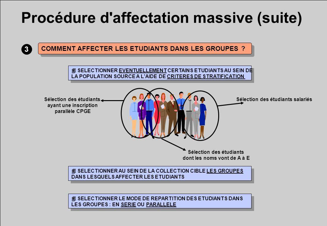 Procédure d affectation massive (suite) 3 COMMENT AFFECTER LES ETUDIANTS DANS LES GROUPES .