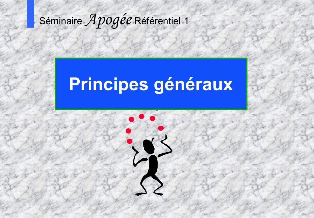 15 Apogée Séminaire Conduite de projet Apogée S Séminaire Apogée Référentiel 1 Principes généraux