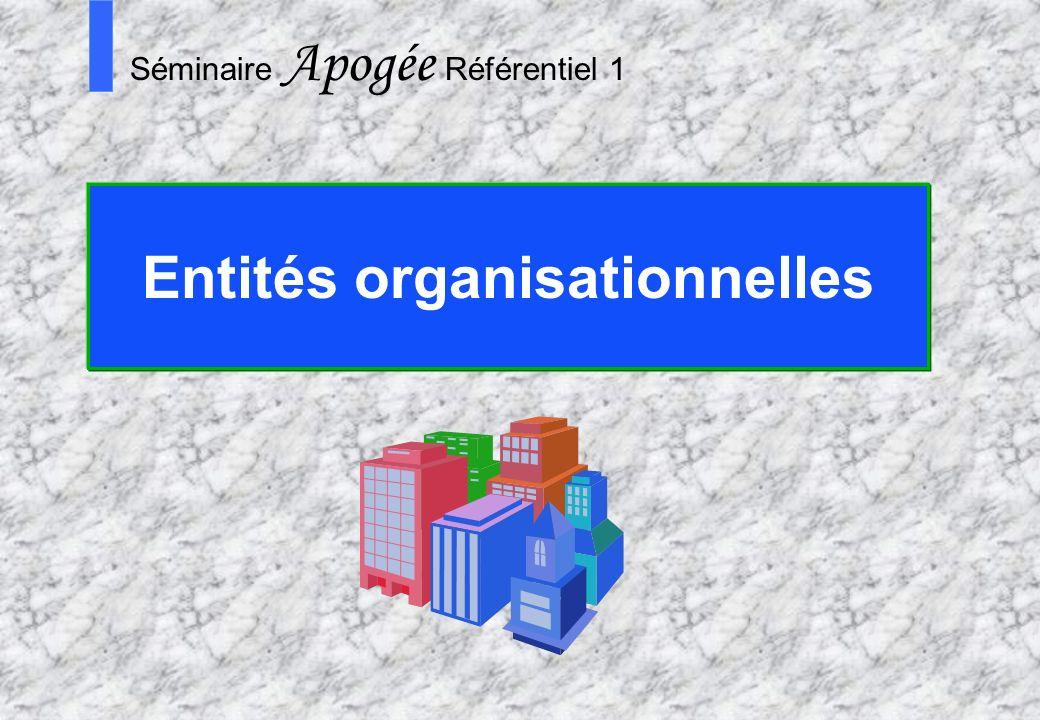 19 Apogée Séminaire Conduite de projet Apogée S Séminaire Apogée Référentiel 1 Entités organisationnelles