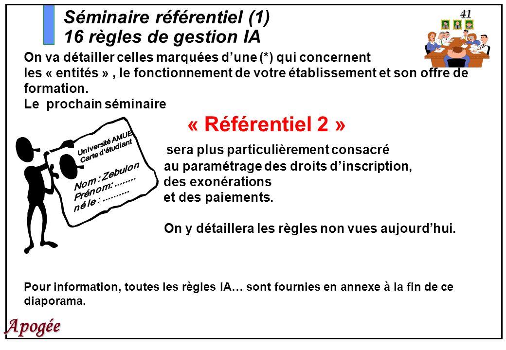 41 Apogée Séminaire référentiel (1) 16 règles de gestion IA On va détailler celles marquées dune (*) qui concernent les « entités », le fonctionnement