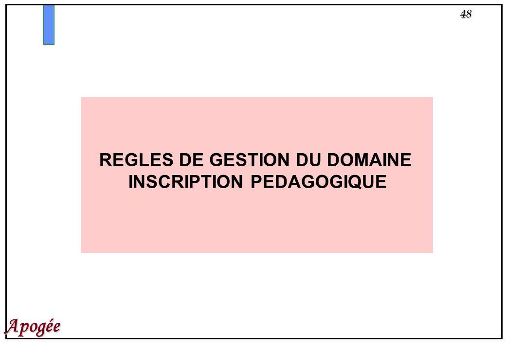 48 Apogée REGLES DE GESTION DU DOMAINE INSCRIPTION PEDAGOGIQUE