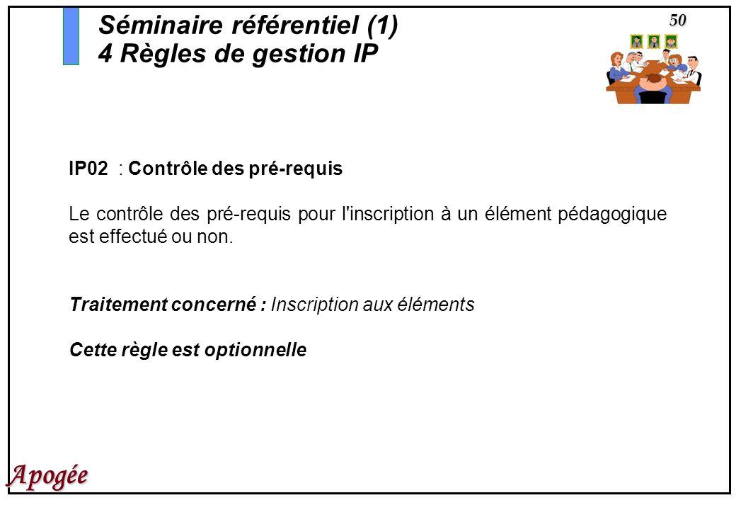 50 Apogée IP02 : Contrôle des pré-requis Le contrôle des pré-requis pour l'inscription à un élément pédagogique est effectué ou non. Traitement concer
