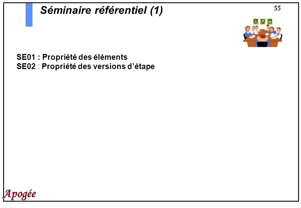55 Apogée SE01 : Propriété des éléments SE02 : Propriété des versions détape Séminaire référentiel (1)
