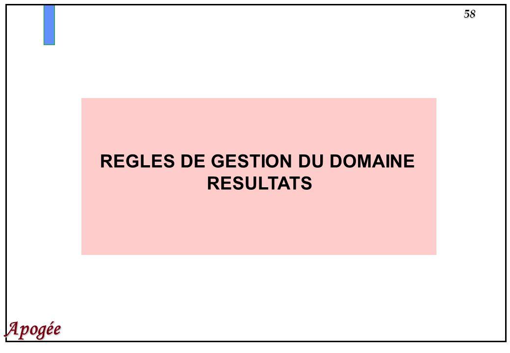 58 Apogée REGLES DE GESTION DU DOMAINE RESULTATS