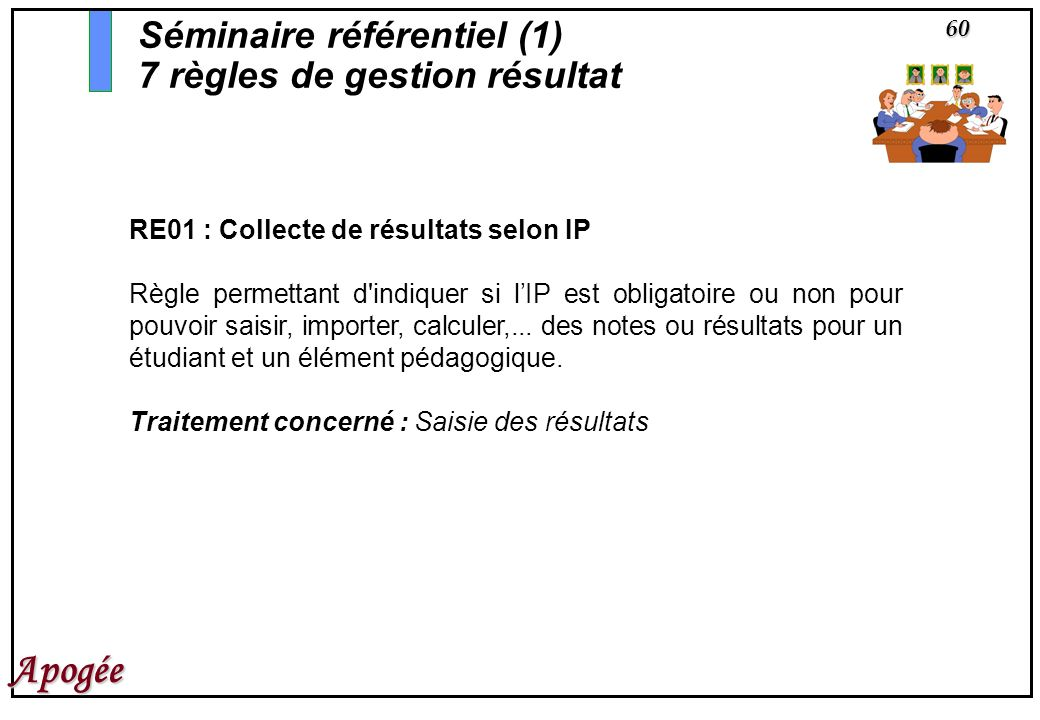 60 Apogée RE01 : Collecte de résultats selon IP Règle permettant d'indiquer si lIP est obligatoire ou non pour pouvoir saisir, importer, calculer,...