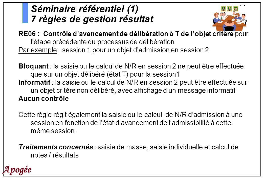 64 Apogée RE06 : Contrôle davancement de délibération à T de lobjet critère pour létape précédente du processus de délibération. Par exemple: session