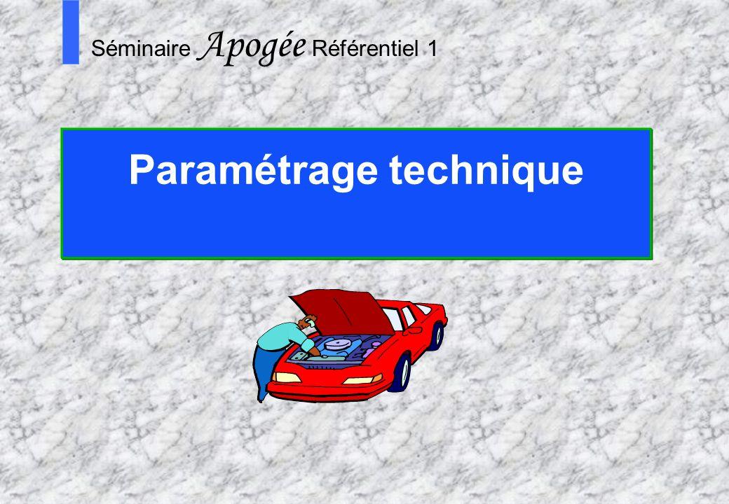 70 Apogée Séminaire Conduite de projet Apogée S Séminaire Apogée Référentiel 1 Paramétrage technique