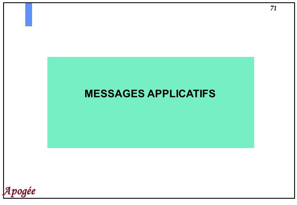 71 Apogée MESSAGES APPLICATIFS
