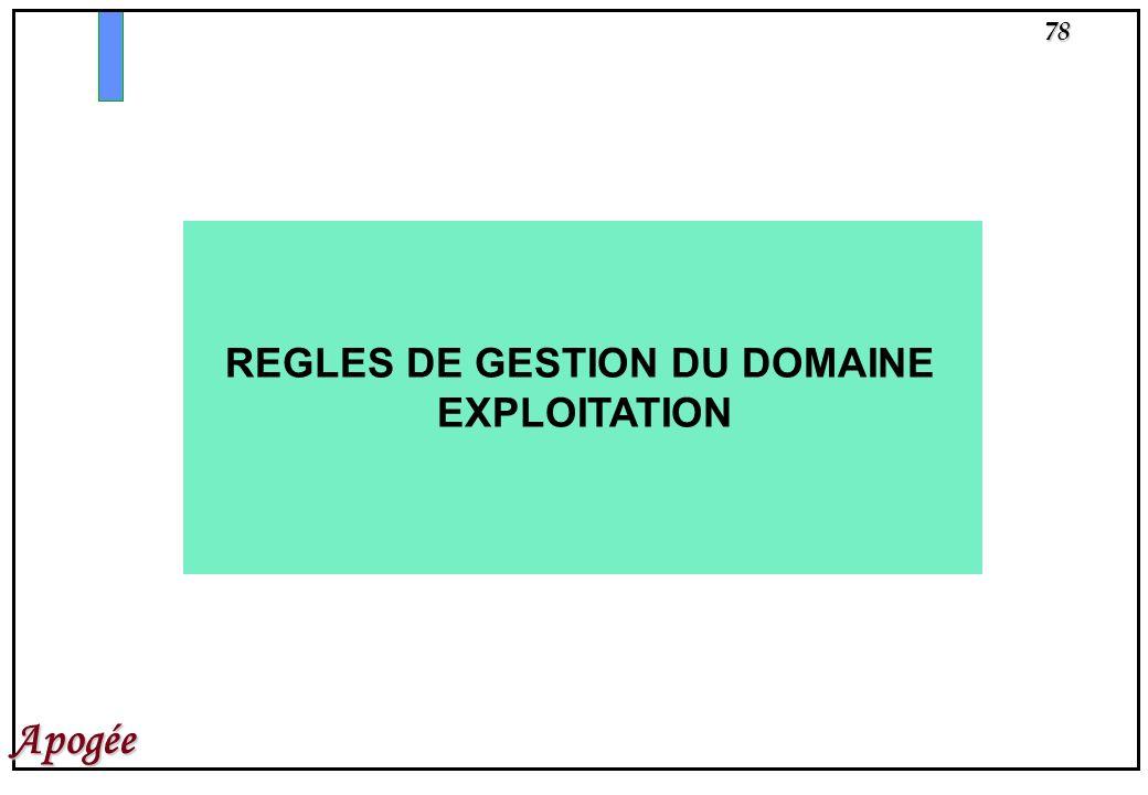 78 Apogée REGLES DE GESTION DU DOMAINE EXPLOITATION