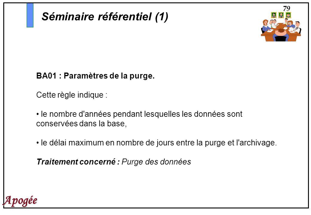 79 Apogée BA01 : Paramètres de la purge. Cette règle indique : le nombre d'années pendant lesquelles les données sont conservées dans la base, le déla