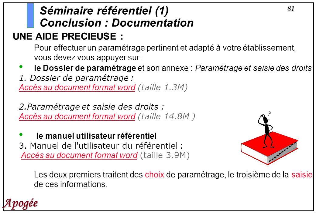 81 Apogée UNE AIDE PRECIEUSE : Pour effectuer un paramétrage pertinent et adapté à votre établissement, vous devez vous appuyer sur : le Dossier de pa