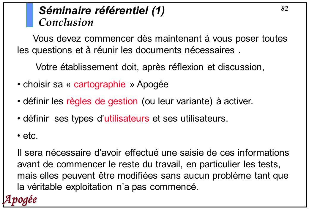 82 Apogée Séminaire référentiel (1) Conclusion Vous devez commencer dès maintenant à vous poser toutes les questions et à réunir les documents nécessa