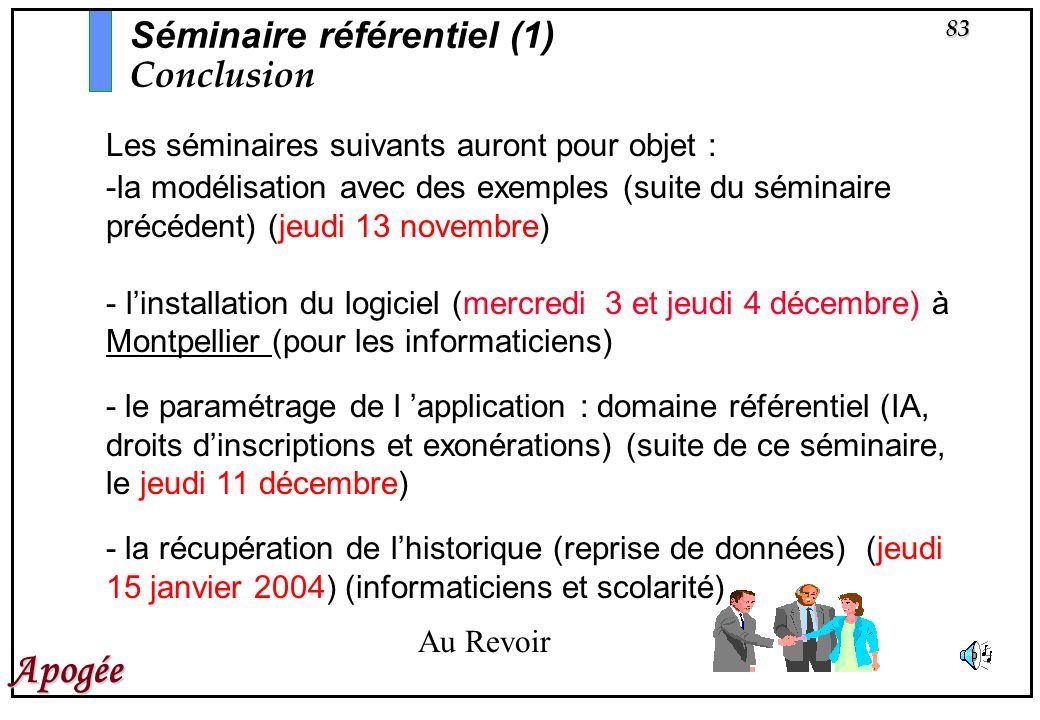 83 Apogée Les séminaires suivants auront pour objet : -la modélisation avec des exemples (suite du séminaire précédent) (jeudi 13 novembre) - linstall