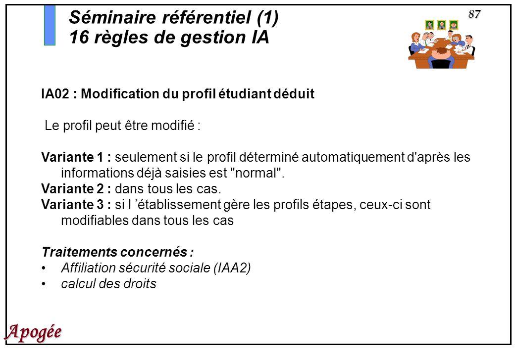 87 Apogée IA02 : Modification du profil étudiant déduit Le profil peut être modifié : Variante 1 : seulement si le profil déterminé automatiquement d'