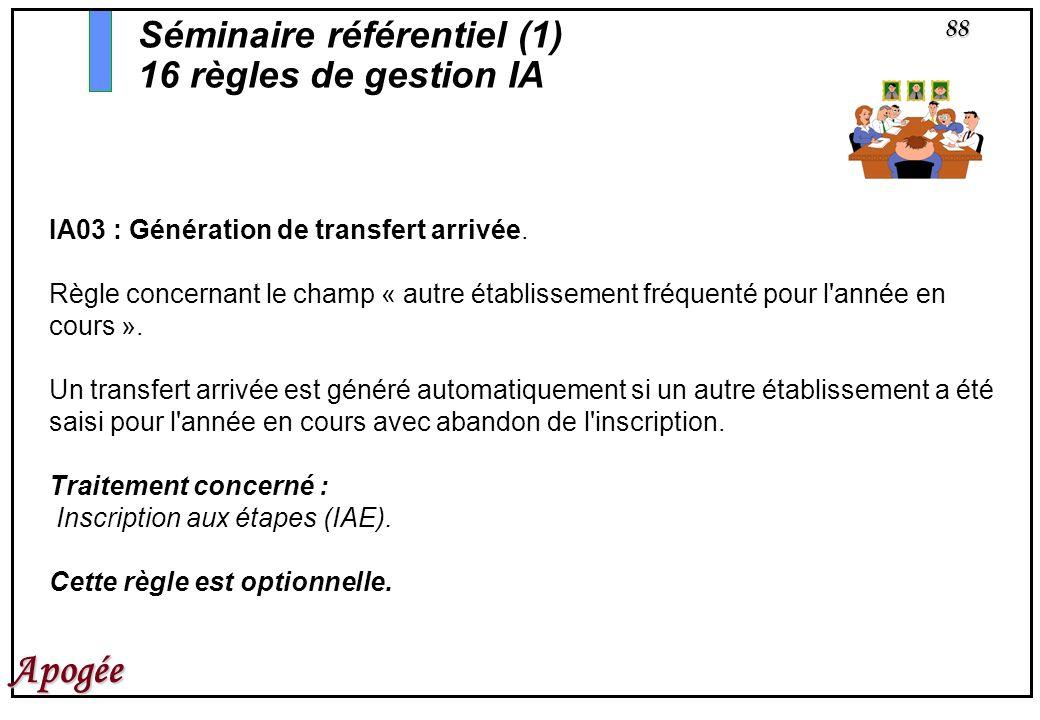 88 Apogée IA03 : Génération de transfert arrivée. Règle concernant le champ « autre établissement fréquenté pour l'année en cours ». Un transfert arri