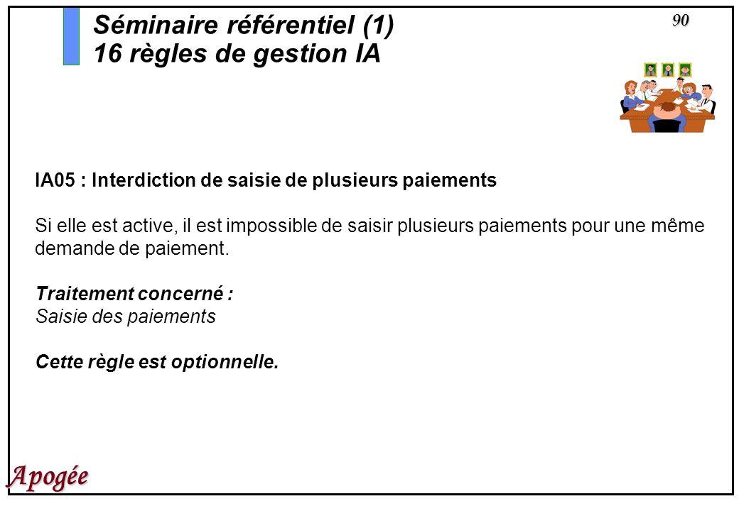 90 Apogée IA05 : Interdiction de saisie de plusieurs paiements Si elle est active, il est impossible de saisir plusieurs paiements pour une même deman