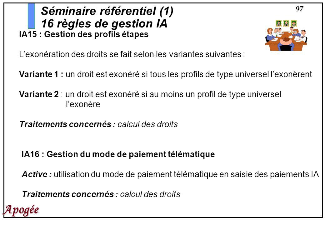 97 Apogée IA15 : Gestion des profils étapes Lexonération des droits se fait selon les variantes suivantes : Variante 1 : un droit est exonéré si tous