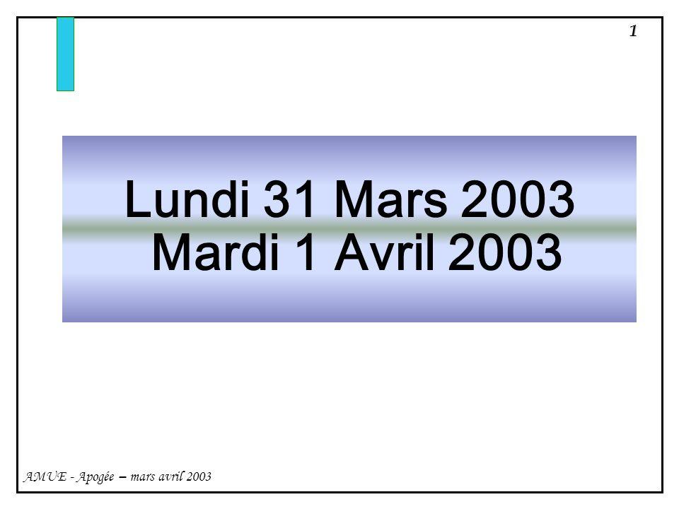 1 AMUE - Apogée – mars avril 2003 Lundi 31 Mars 2003 Mardi 1 Avril 2003