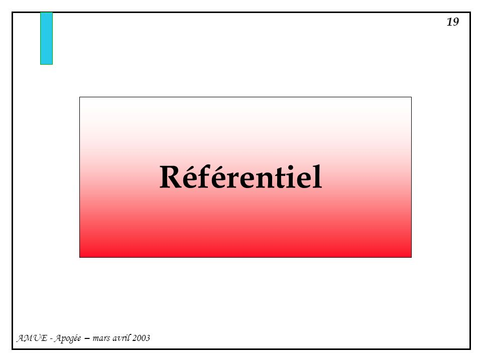 19 AMUE - Apogée – mars avril 2003 Référentiel