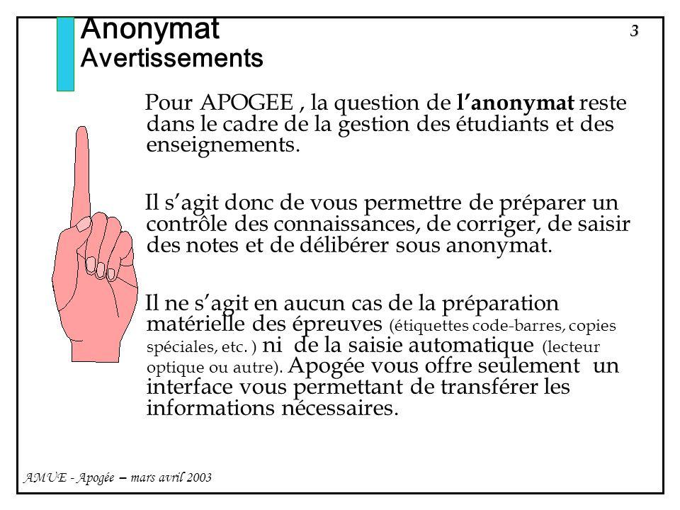 44 AMUE - Apogée – mars avril 2003 Anonymat Utilisateurs de lanonymat Sur lécran de saisie individuelle, les notes ou résultats des Objets- Résultats sous un anonymat à létat V sont masqués