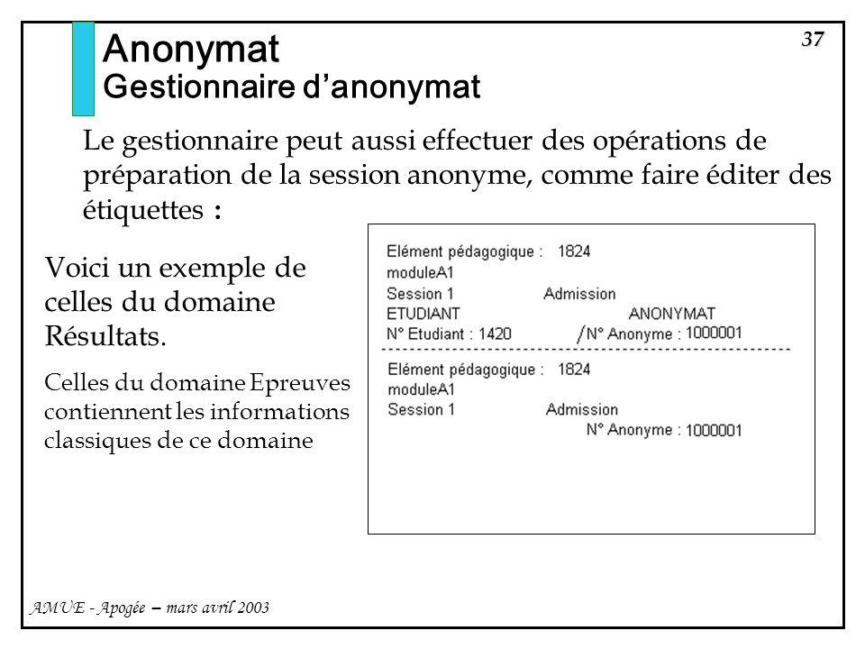37 AMUE - Apogée – mars avril 2003 Anonymat Gestionnaire danonymat Le gestionnaire peut aussi effectuer des opérations de préparation de la session an