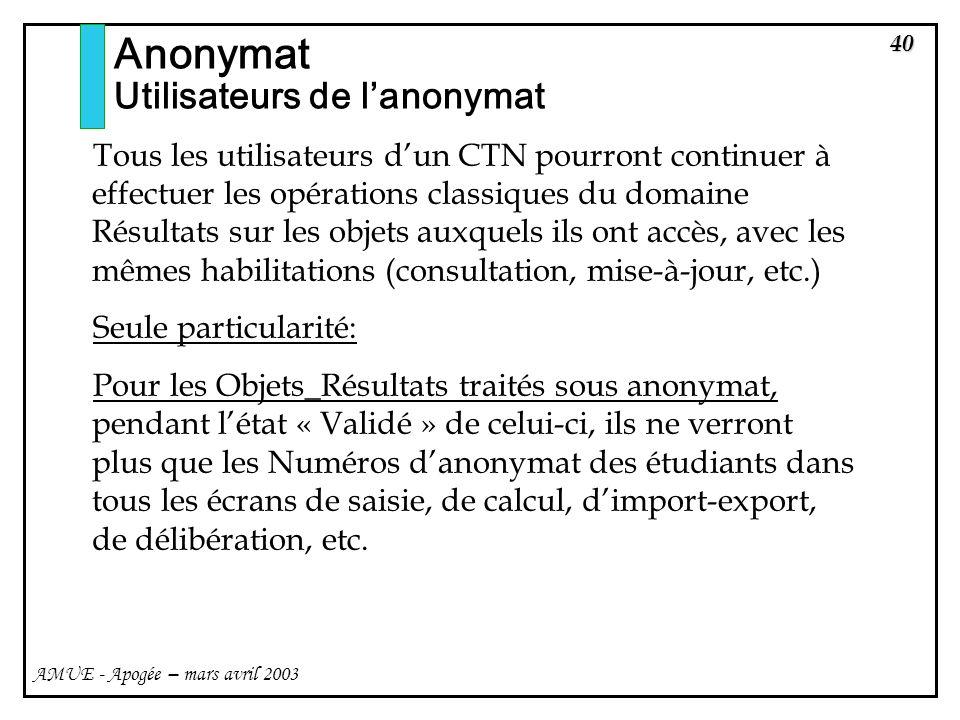 40 AMUE - Apogée – mars avril 2003 Tous les utilisateurs dun CTN pourront continuer à effectuer les opérations classiques du domaine Résultats sur les