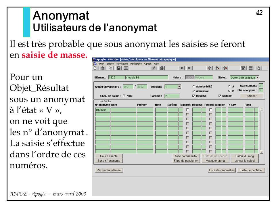 42 AMUE - Apogée – mars avril 2003 Anonymat Utilisateurs de lanonymat Il est très probable que sous anonymat les saisies se feront en saisie de masse.