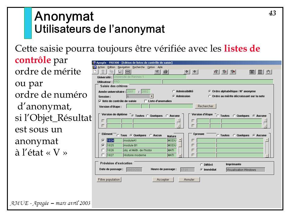 43 AMUE - Apogée – mars avril 2003 Anonymat Utilisateurs de lanonymat Cette saisie pourra toujours être vérifiée avec les listes de contrôle par ordre